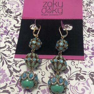 Triple Embellished Bead Teal &Turq. earring,NWT